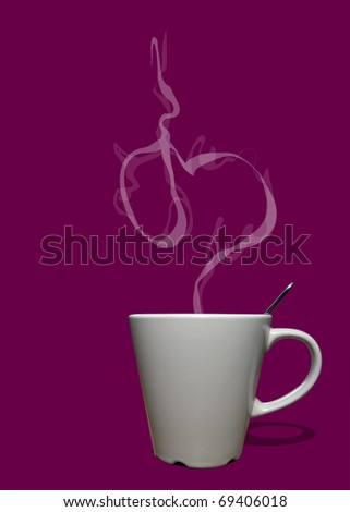 Cup of coffee or tea with steam in shape of heart