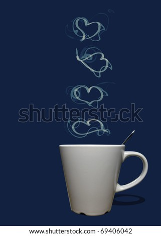 Cup of coffee or tea with steam in shape of hearts