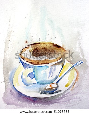 Cup of coffee. Watercolor illustration. Beautiful paper texture.