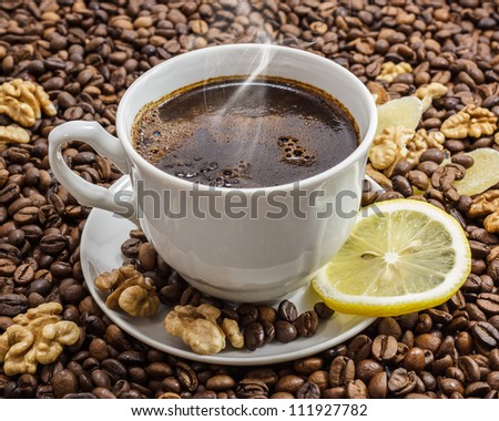 Cup of coffee with a background from coffee grains