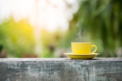Cup of coffee with a blurred background