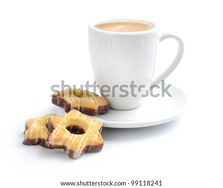 Cup of coffee with a chocolate cookies on a white background