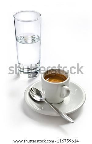 cup of coffee with a glass of water. insulation