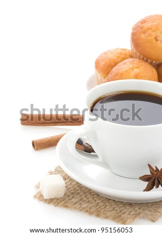 cup of coffee with beans isolated on white background