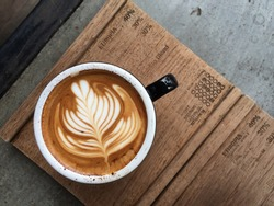 Cup of coffee with beautiful Latte art
