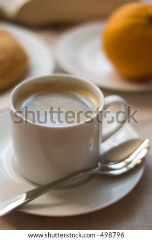 cup of coffee with breakfast