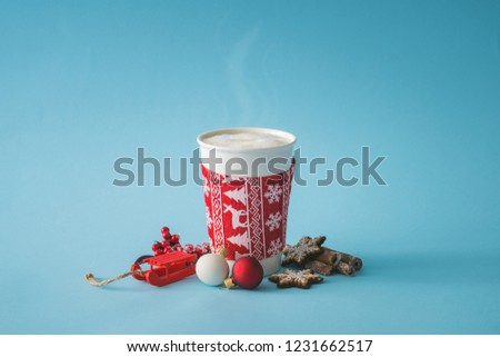 Cup of coffee with christmas decoration. Hot winter drink background. Minimal food concept. #1231662517