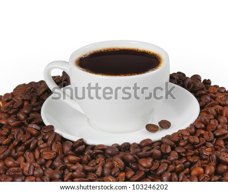 cup of coffee with coffee bean as background - stock photo