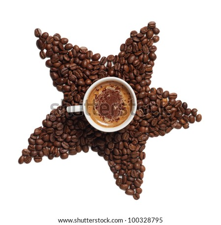 Cup of coffee with coffee grain star-shaped