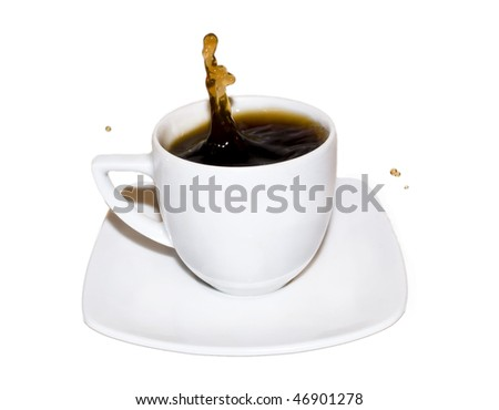Cup of coffee with coffee splashing isolated on white background