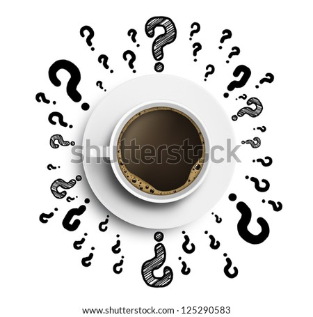 cup of coffee with drawing question