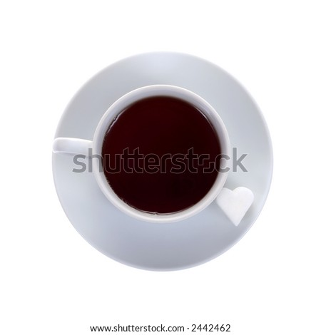 cup of coffee with heartshaped sugar cube isolated on white background