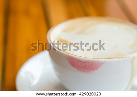 cup of coffee with lipstick
