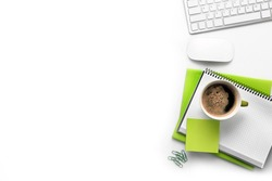 Cup of coffee with office tools on white background