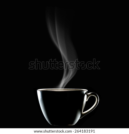 Cup of coffee with smoke on black background, This photo is available without smoke