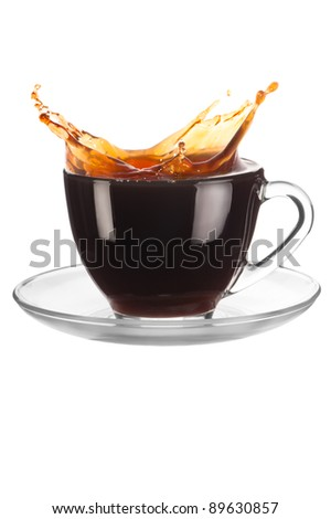 Cup of coffee with splash on white background