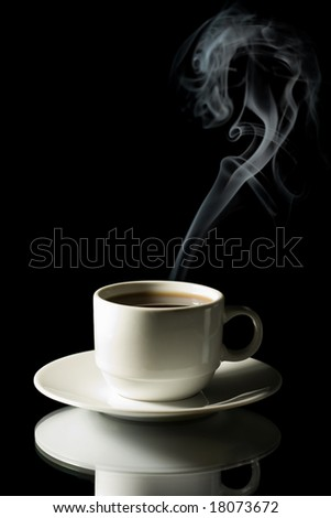 cup of coffee with steam isolated - stock photo