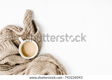 Cup of coffee  with warm plaid. Copy space. Flat lay, top view - Shutterstock ID 743226043