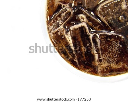 Cup of cola against white background