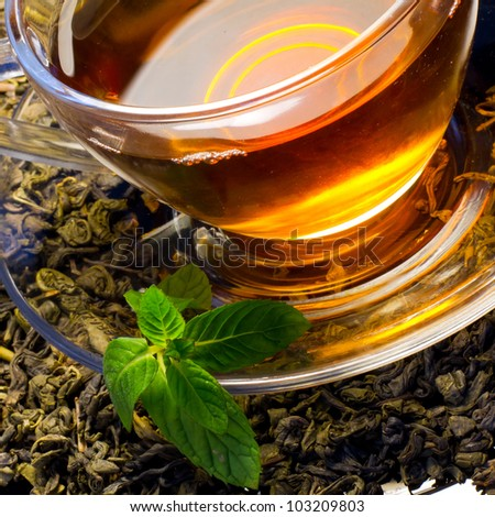 Cup of english green tea with mint