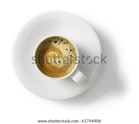 Cup of espresso coffee, top view, isolated on white background