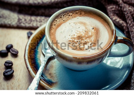 Cup of espresso with coffee beans. Coffee Espresso. Cup Of Coffee