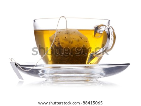 Cup of green tea isolated on white - stock photo