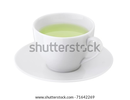 Cup of green tea on a white background
