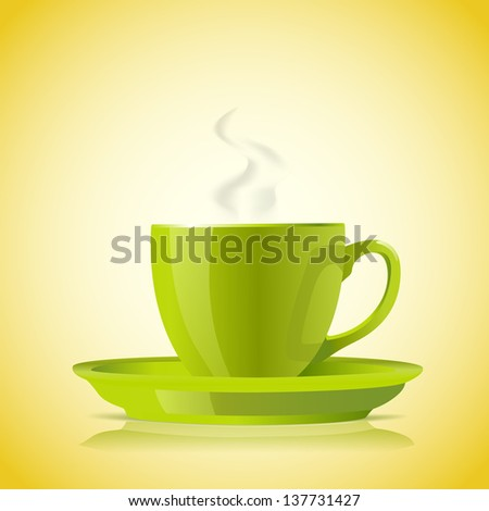cup of green tea on yellow background