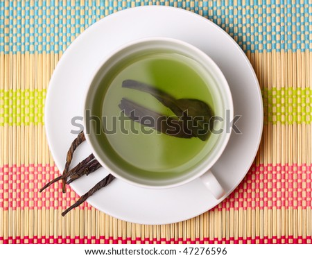 cup of green tea. top view .