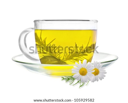 cup of green tea with chamomile flowers isolated on white background