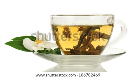 cup of green tea with jasmine flowers isolated on white