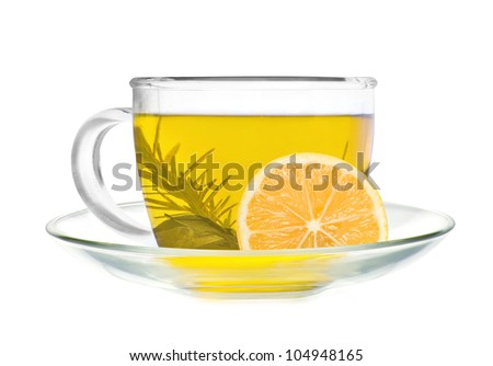 cup of green tea with lemon slice isolated on white background