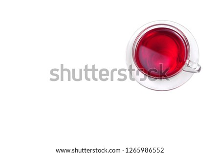 cup of hibiscus tea isolated on white. herbal tea. top view. copy spaces. #1265986552