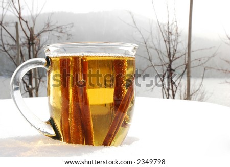 Cup of hot apple cider outdoors in the snowy winter