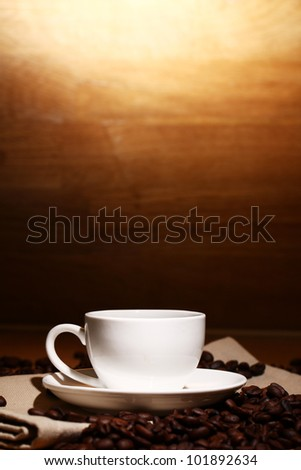 Cup of hot black coffe