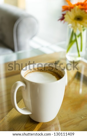 Cup of hot coffee on the table in cafe  restaurant