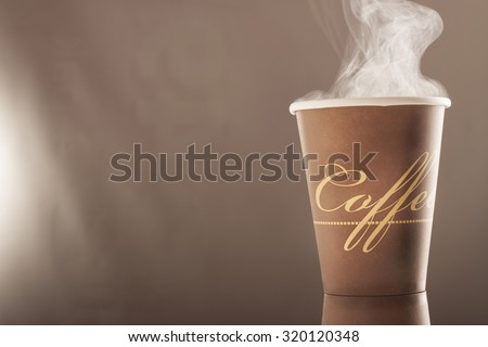 cup of hot coffee with smoke