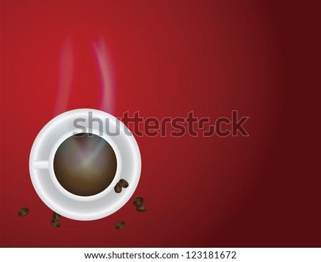 Cup of Hot Coffee with Steam and Beans on Red Background Illustration Raster Vector