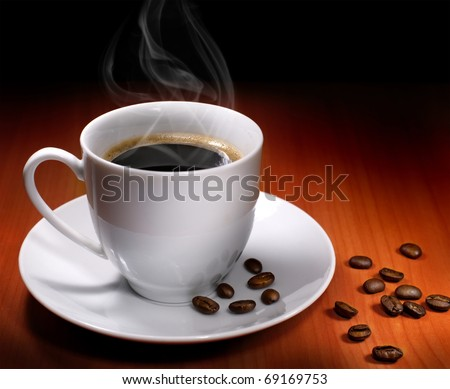 Cup of hot drink with coffee beam's #69169753