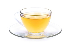 Cup of hot herbal tea isolated on white background with clipping path.