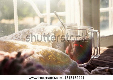 Cup of hot tea, a knitted blanket against the morning sun. Tea time. Free time , pleasant warm atmosphere of the morning.