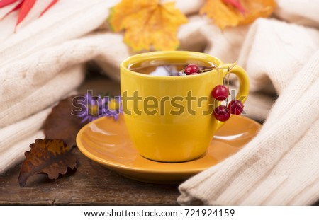 cup of hot tea and autumn leaves, on brown background #721924159