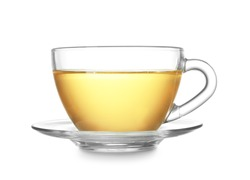 Cup of hot tea on white background