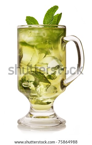 Cup of ice tea with mint on white background.