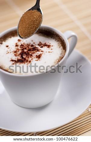 Cup of Italian capuccino - stock photo