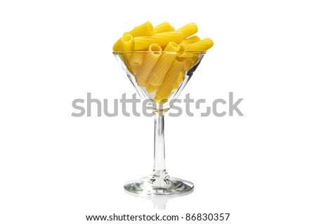 Cup of Italian pasta close up on white background