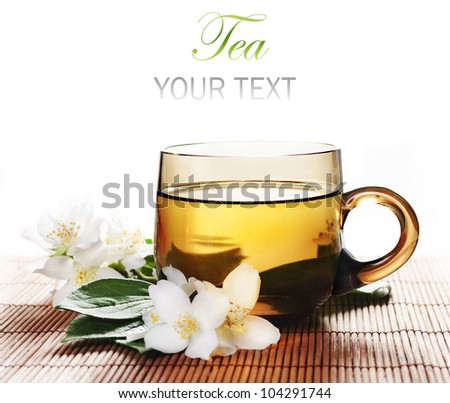 Cup of jasmine tea with white background
