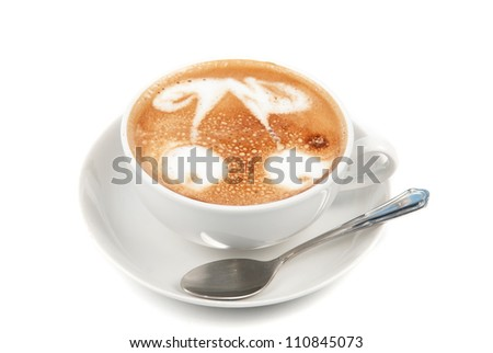 Cup of latte on a white background