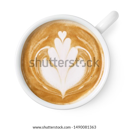 Cup of latte or cappuccino art drawing isolated on white background, top view